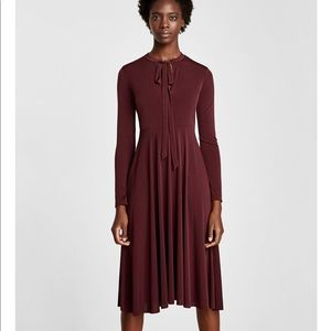 Dark Maroon Dress with Bow at the neck, NWT
